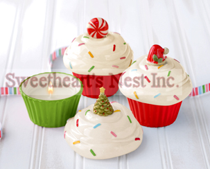 Christmas Cupcake Candles In Christmas Tree, Santa's Hat Or Peppermint
