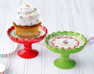 Christmas Cupcake Pedestal Cake Stands, Set of 2