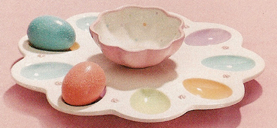 Pastel Egg Plate With Matching Bowl