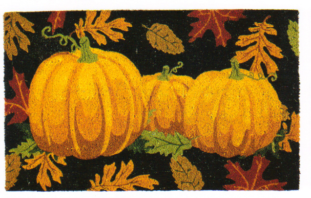 Pumpkin & Leaves Autumn Doormat, Fall