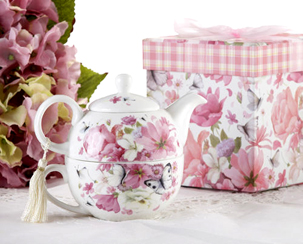 Flowers & Butterflies Tea For One In Decorative Box
