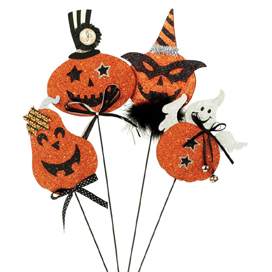 Halloween Pumpkins & Ghost Decorating Picks, Set Of 4