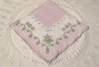 Lavender Rose Handkerchief, Vintage Inspired, Free Shipping!