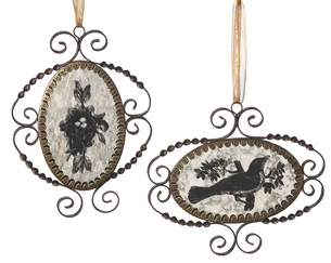 Mirrored Bird Image Ornaments, Wendy Addison, Set of 2