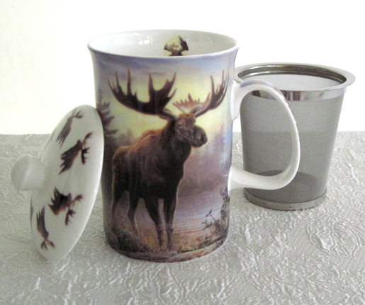 Mug & Tea Infuser Set, Woodland Moose, Set Of 3