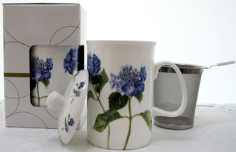 Mug & Tea Infuser Set, Hydrangea, Set Of 3
