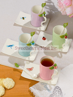 Natures Song Cup, Saucer & Spoon Set, 4 To Choose From!