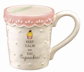 Pink Cupcake Mug With Pastel Green Swirl Design On Inside