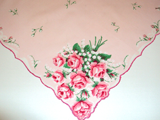 Pink Rose Bouquet Handkerchief, Free Shipping!