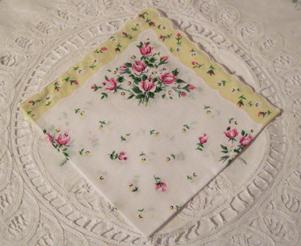 Roses & Daisies Handkerchief, Light Yellow Border, Free Shipping!