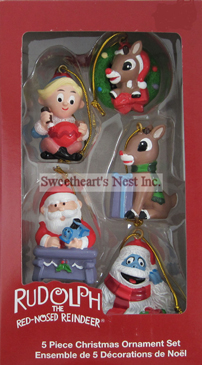 Rudolph The Red-Nosed Reindeer Miniature Ornament Set, 5 Pieces, Free Shipping!