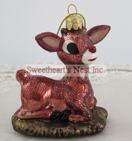 Rudolph The Red-Nosed Reindeer Glass Christmas Ornament