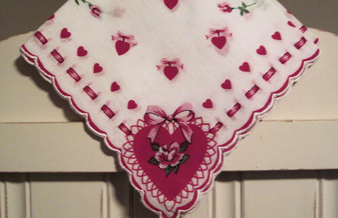 Sweetheart's Valentine Handkerchief, Free Shipping!