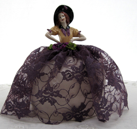 Victorian Half Doll Pin Cushion, Purple, New Lower Price!