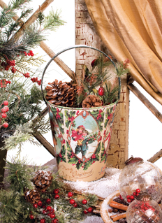 Merry Christmas Holiday Bucket, Vintage Inspired