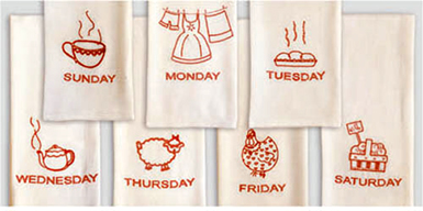 Vintage Style Seven Days of Week Flour Sack Towel Set, Set of 7