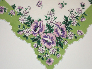 Violet Rose Handkerchief,  Free Shipping!