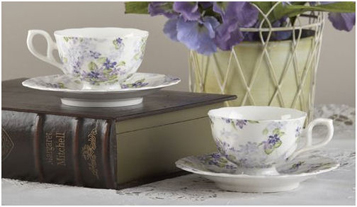 Violets Porcelain Tea Cups & Saucers, 2 Sets