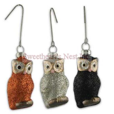 Halloween Glittered Owl Ornaments Set Of 3 Bethany Lowe - Large Halloween Ornaments