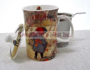 Mug & Tea Infuser Set, Annie's Apple Harvest, 3 Piece Set