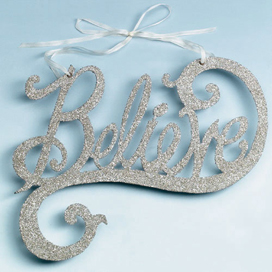 """Believe""  Door Swag, Wendy Addison, Retired 2010"