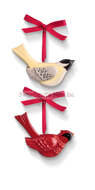 Red Cardinal Or Chickadee Ornament, Christmas, Free Shipping!