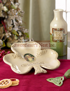 Celtic Santa Milk And Cookie Plate, 2 Piece Set
