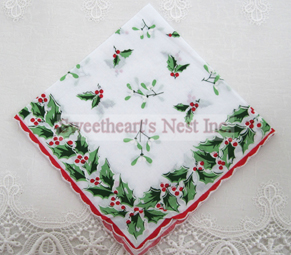 Christmas Holly Handkerchief, New! Free Shipping!
