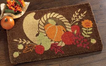 Fall Cornucopia Coir Doormat