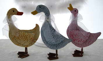 Country Pastel Ducks, Set Of 3