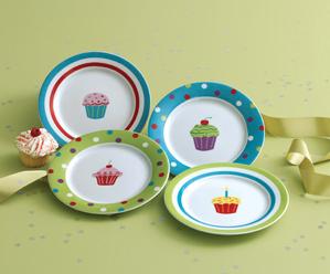 Cupcake Appetizer Plates, Set of 4