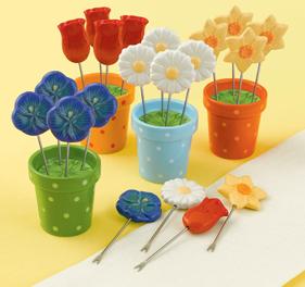 Spring Flower Appetizer Picks In Decorative Flower Pots, 4 Sets Of 4