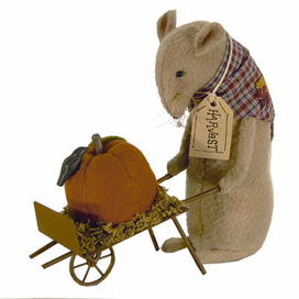 Henry The Harvest Mouse With Pumpkin In Wheel Barrow