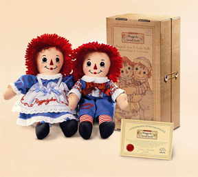 Raggedy Ann & Andy In Collector Case With Certificate Of Authenticity