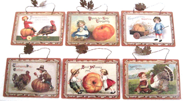 Thanksgiving Postcard Plaques, Vintage Style