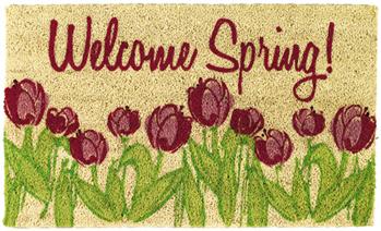 Welcome Spring Tulips Doormat