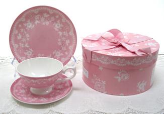 Vintage Lace Tea Cup, Saucer & Dessert Place In Decorative Hat Box