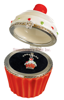 Holiday Red Christmas Cupcake Trinket Box & Necklace Set