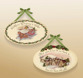 Nostalgia Christmas Plaques, Set Of 2