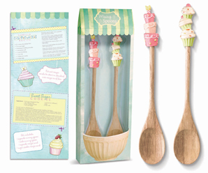 Cupcake & Cake With Candles Mixing Spoons, Set Of 2
