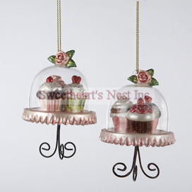 Cupcake Cafe Cake Stand Ornaments, Set of 2, Free Shipping!