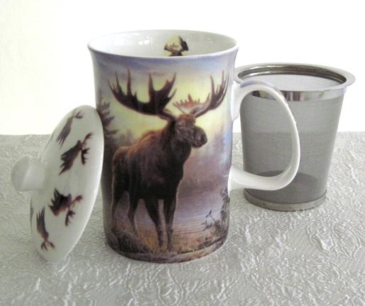 Mug & Tea Infuser Set, Woodland Moose, Set Of 3