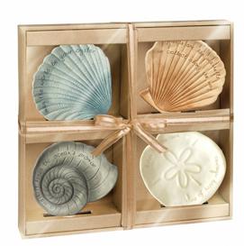 Seashell Appetizer/Tidbit  Plates, Set Of 4