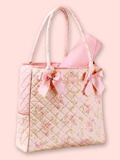 Pink Cottage Rose Diaper Bag For Baby Girls
