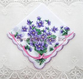 Violets & Ribbon Handkerchief, New! Free Shipping!